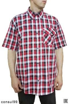 """Рубашка """"Эконом"""" мужская в клетку, короткий рукав, 1 карман, шотландка"""