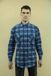 Рубашка мужская в клетку, длинный рукав, 2 кармана, фланель