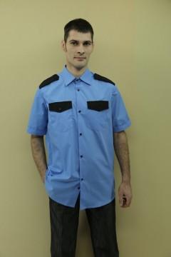 Рубашка охранника короткий рукав, голубой цвет