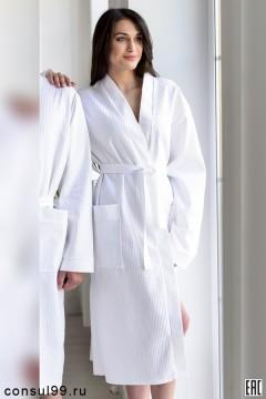 Халат вафельный белый банный универсальный