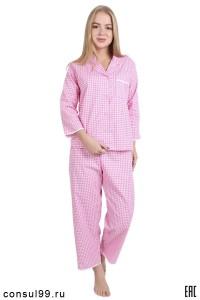 Пижама женская из поплина, розовая клетка