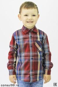 Рубашка детская в клетку, длинный рукав, шотландка