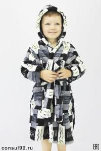 Халат детский запашной мод. ХД-1, велсофт