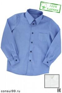 Рубашка школьная с кармашком белая / голубая