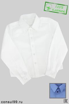 Рубашка школьная белая/голубая