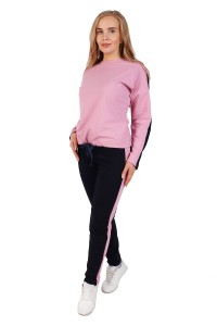 Костюм с лампасами спортивный брючный с розовой толстовкой