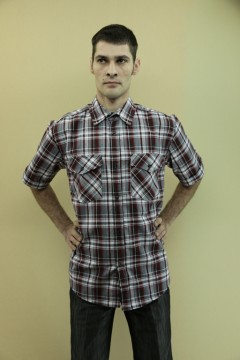 Рубашка муж.кор.рукав 2 кармана \шотландка\