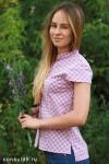 Рубашка женская в клетку,  короткий рукав, шотландка, модель 09