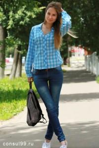 Рубашка женская в клетку, длинный рукав, шотландка, модель 07