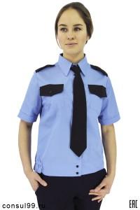 Рубашка женская охранника, короткий рукав, на поясе