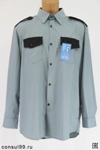 Рубашка охранника серая, длинный рукав