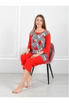 "Пижама мод. ""Парижанка"" красные цветы"