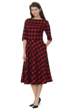 Платье удлинённое, черно-красная клетка