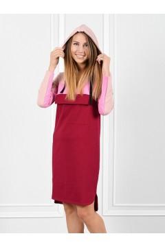 Платье женское 3 цвета пудра-розовый-бордо