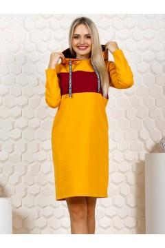 Платье женское Дуэт бордо и горчичный