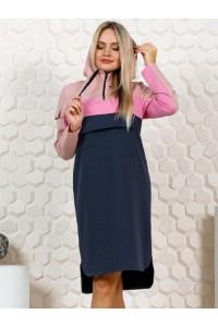 Платье женское 3 цвета пудра-розовый-серый