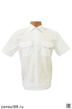 Рубашка охранника короткий рукав, на поясе, белая