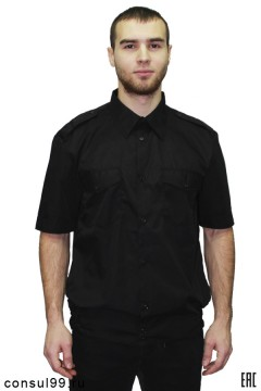 Рубашка охранника короткий рукав, на поясе, черная