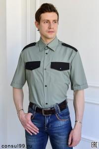 Рубашка охранника оливковый цвет, короткий рукав