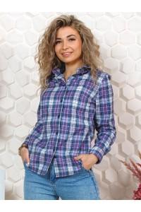 Рубашка женская в клетку, длинный рукав, модель Виолетта