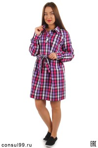 Платье-рубашка в клетку, воротник-поло