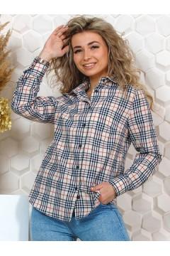 Рубашка женская в клетку, длинный рукав, модель Барбара