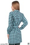 Платье-рубашка в клетку, распашное