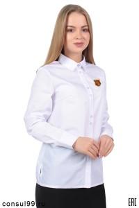 Рубашка женская гладкокрашеная, длинный рукав, корпоративная белая