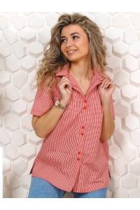 Рубашка женская в клетку,  короткий рукав, модель Бавария