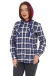 Рубашка женская в клетку, длинный рукав, теплая - фуле