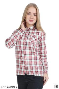 """Рубашка женская в клетку, длинный рукав, """"Бритиш"""", рисунок 3"""
