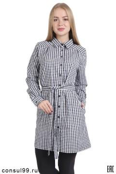 Платье-рубашка в клетку, распашное, черно-белая клетка