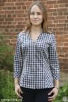 Рубашка женская в клетку, длинный рукав 2/3, модель 11