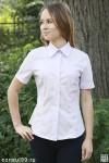 Рубашка женская гладкокрашеная, короткий рукав, модель 09 без галстука