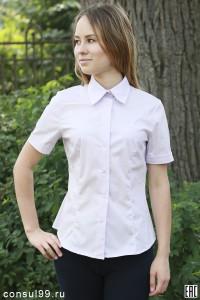 Рубашка женская гладкокрашеная, модель 09 без галстука