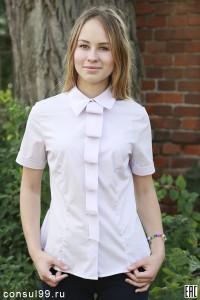 Рубашка женская гладкокрашеная, модель 09 с галстуком