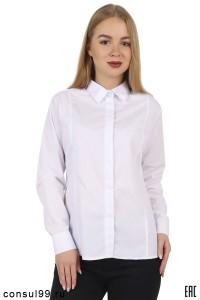 """Рубашка женская белая, длинный рукав """"Рельеф"""""""