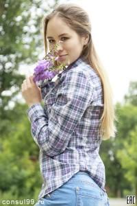 Рубашка женская в клетку, длинный рукав, шотландка, модель 02