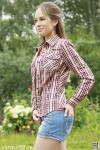 Рубашка женская в клетку, длинный рукав, шотландка, модель 03