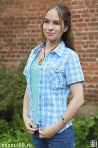 Рубашка женская в клетку, короткий рукав, шотландка, модель 03