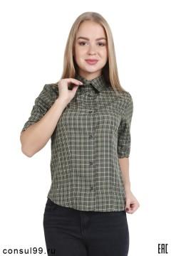 Рубашка женская в клетку,  короткий рукав, модель 14