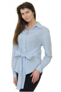 Рубашка женская в клетку, пояс-бант