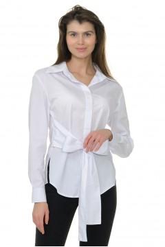 Рубашка женская белая, пояс-бант