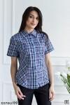 Рубашка женская в клетку, короткий рукав, шотландка, модель 05