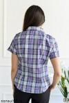 Рубашка женская в клетку, короткий рукав, шотландка, модель 02