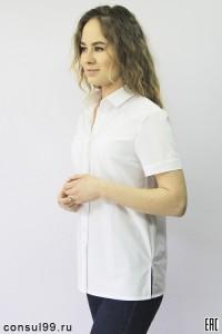 Рубашка женская офисная белая, короткий рукав
