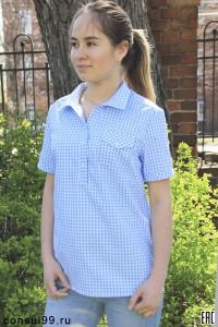 Рубашка в клетку женская, модель 12