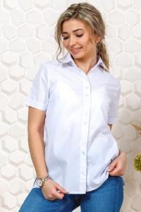 Рубашка женская белая, короткий рукав