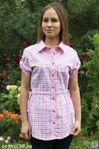 Рубашка женская в клетку, короткий рукав, шотландка, модель 06