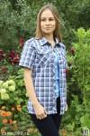 Рубашка женская в клетку, короткий рукав, шотландка, модель 04